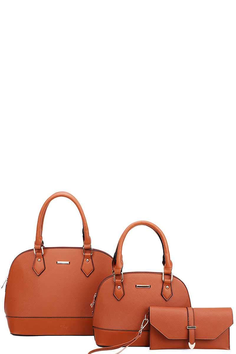 Brown 3 in 1 Domed Satchel Bags And Clutch Set
