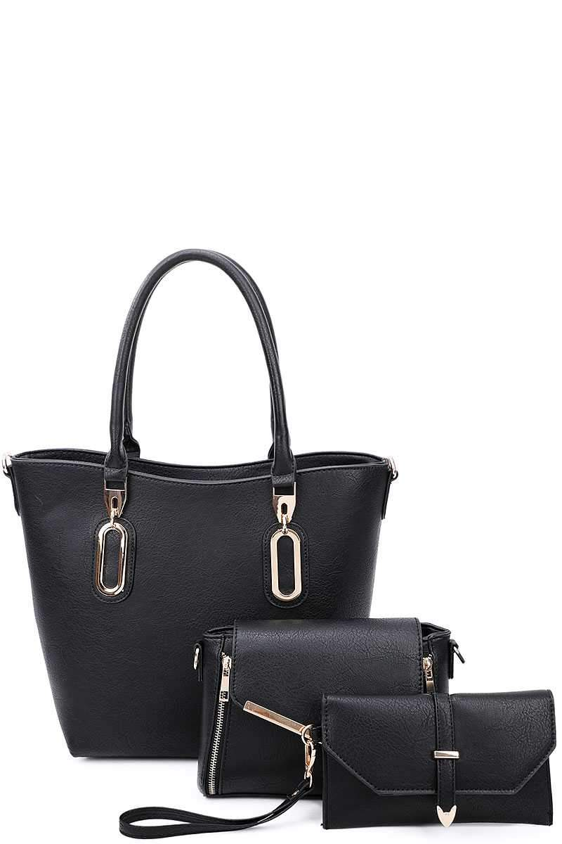Black 3 in 1 Chic Tote And Clutch Set With Long Strap