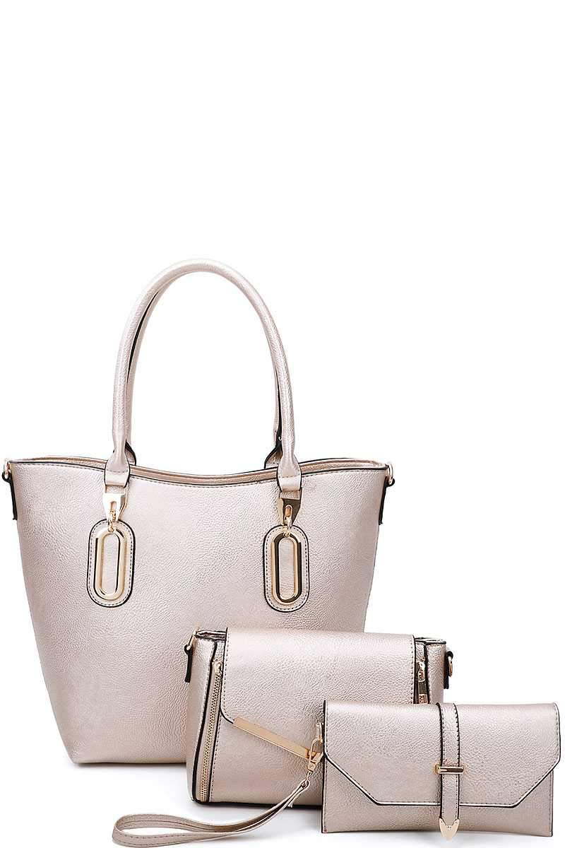 Gold 3 in 1 Chic Tote And Clutch Set With Long Strap