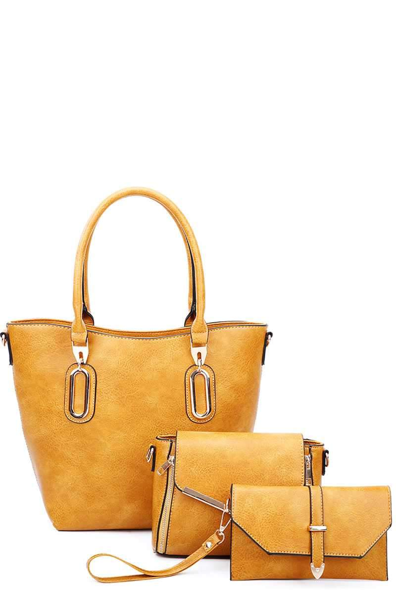 Mustard 3 in 1 Chic Tote And Clutch Set With Long Strap