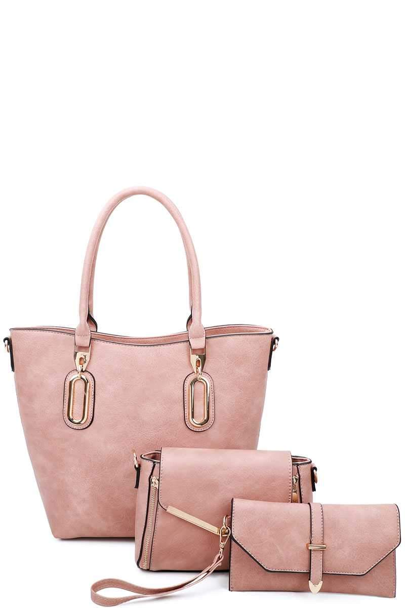 Pink 3 in 1 Chic Tote And Clutch Set With Long Strap
