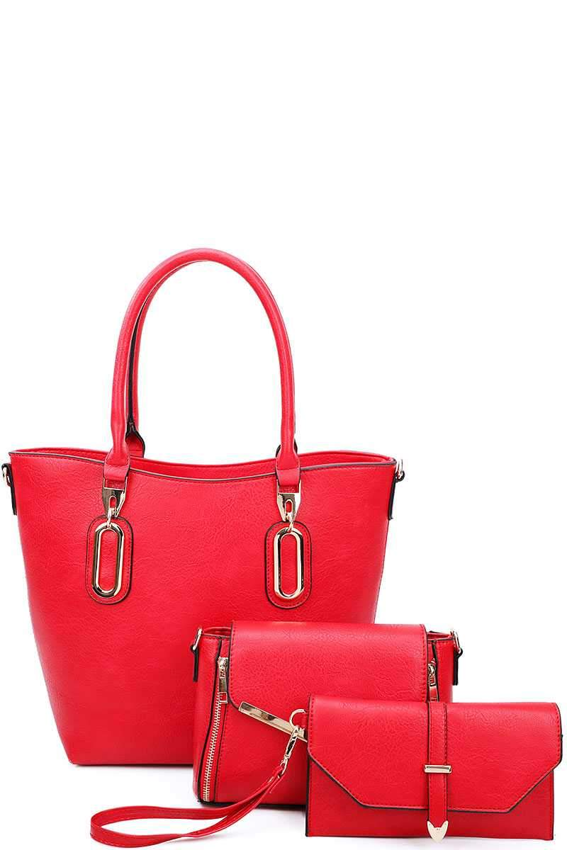 Red 3 in 1 Chic Tote And Clutch Set With Long Strap