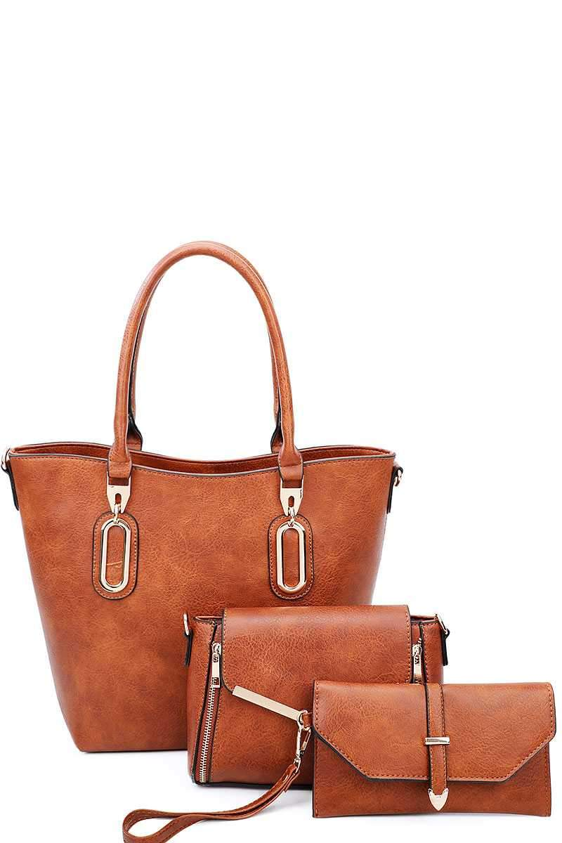 Brown 3 in 1 Chic Tote And Clutch Set With Long Strap