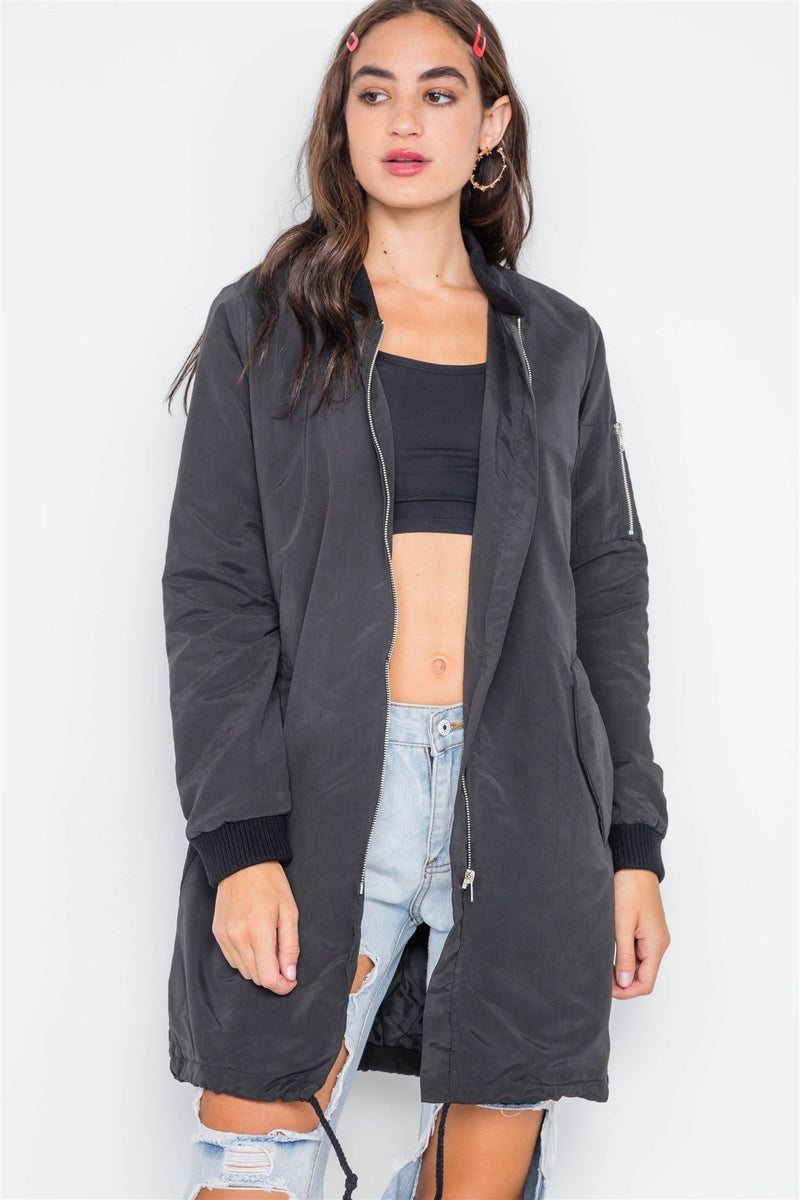 Black Puffer Long Sleeve Bomber Jacket