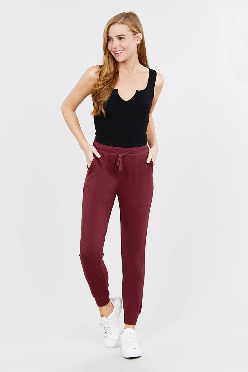New Burgundy / S French Women's Terry Joggers