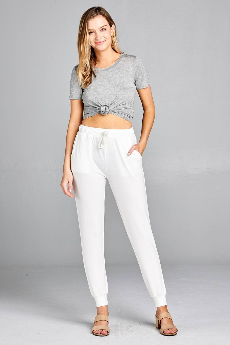 White / S French Women's Terry Joggers
