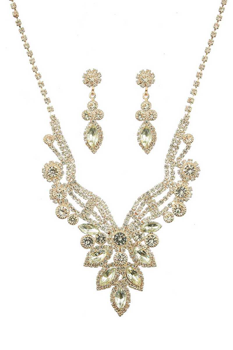 Luxury Marquise Multi Rhinestone Necklace And Earring Set