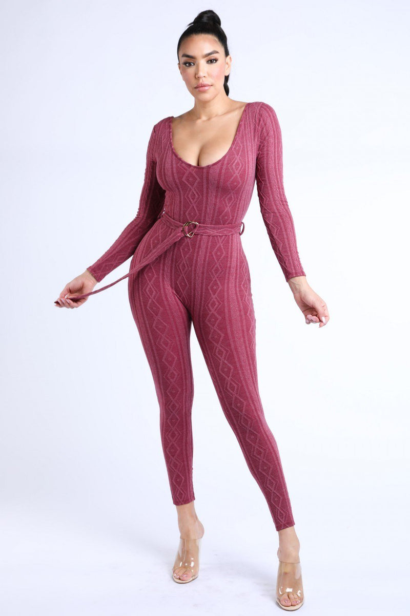 S Cable Knit Burgundy Jumpsuit