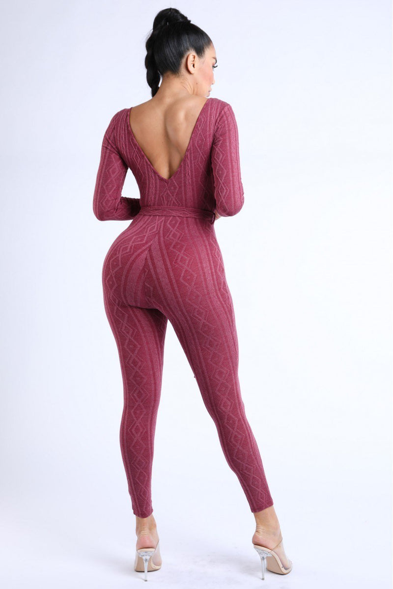 Cable Knit Burgundy Jumpsuit