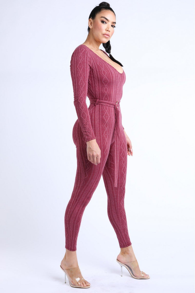 M Cable Knit Burgundy Jumpsuit