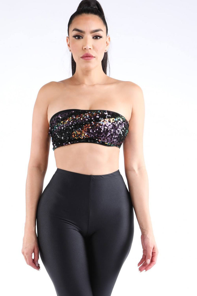 Black / S Shinning Desire Sequin Tube Top