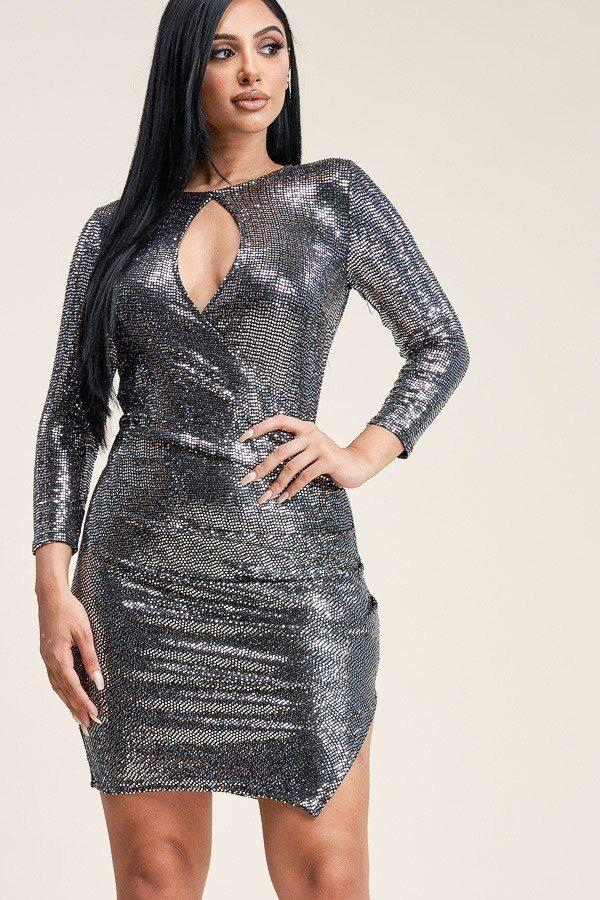 S Metallic 3/4 Sleeve Dress
