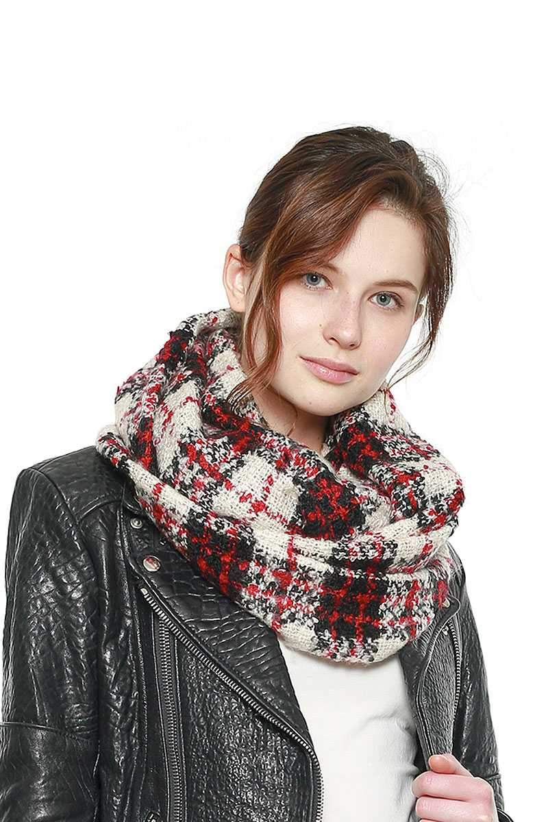 Black Soft Plaid Infinity Scarf