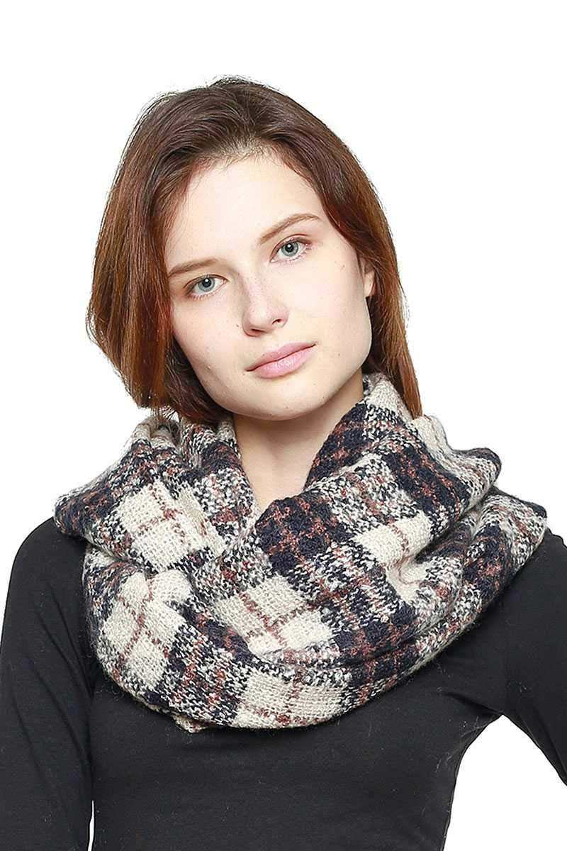Navy Soft Plaid Infinity Scarf