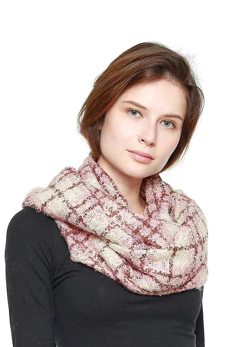 Pink Soft Plaid Infinity Scarf