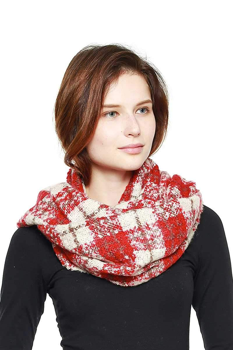 Red Soft Plaid Infinity Scarf