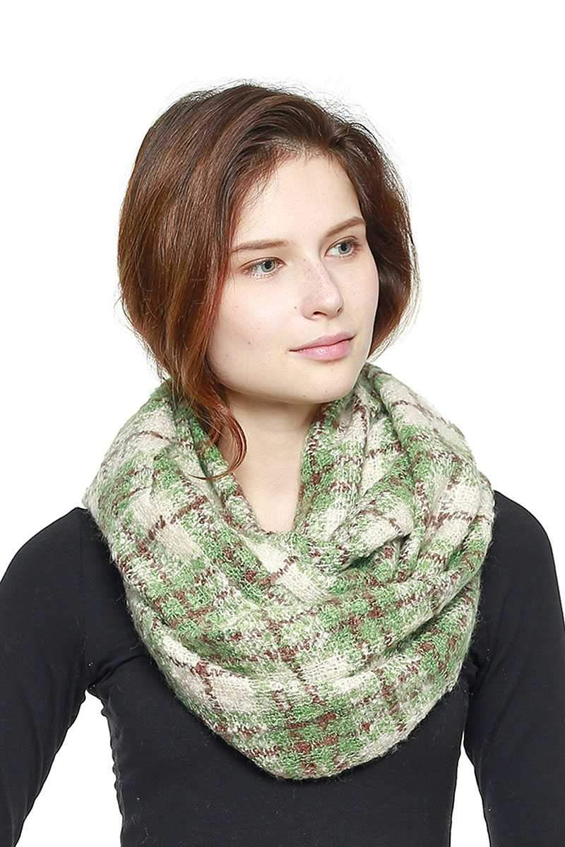 Green Soft Plaid Infinity Scarf