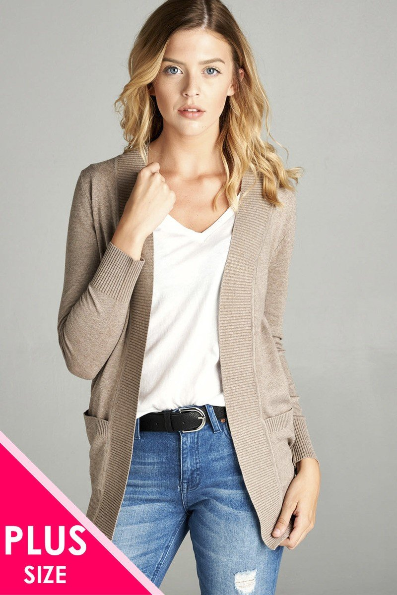 Heather Taupe / XL Rib Banded Open Cardigan
