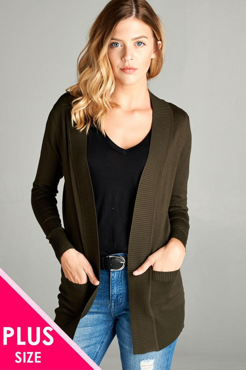 Olive / XL Rib Banded Open Cardigan