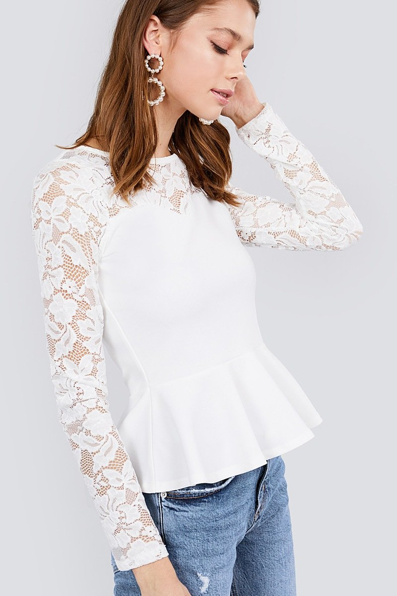 Off White / S Rosy Lace Long Sleeve Top