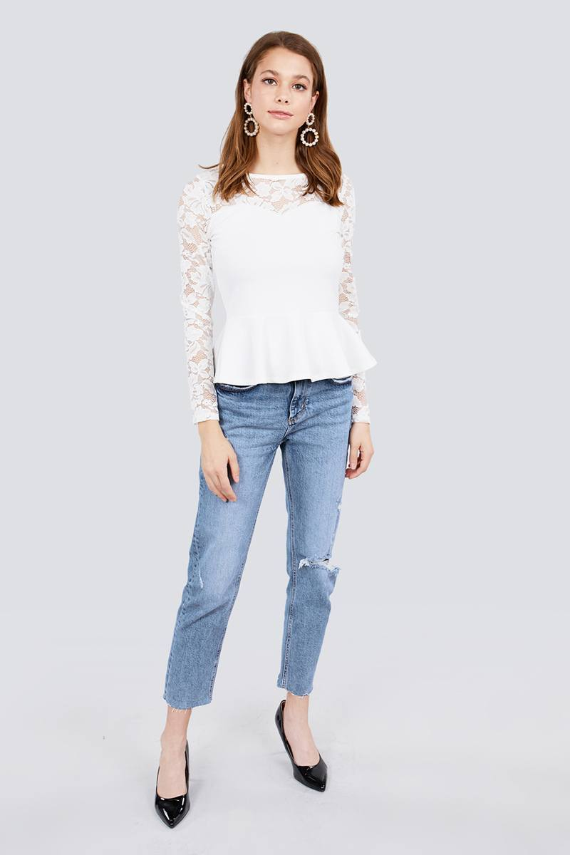 Rosy Lace Long Sleeve Top