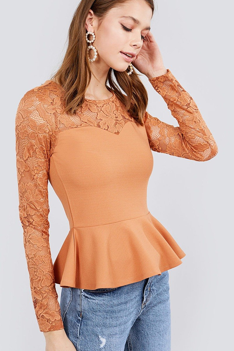 Salmon / S Rosy Lace Long Sleeve Top