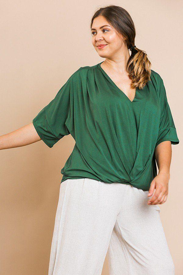 Hunter Green / XL Short Bell Sleeve Basic V-neck Top