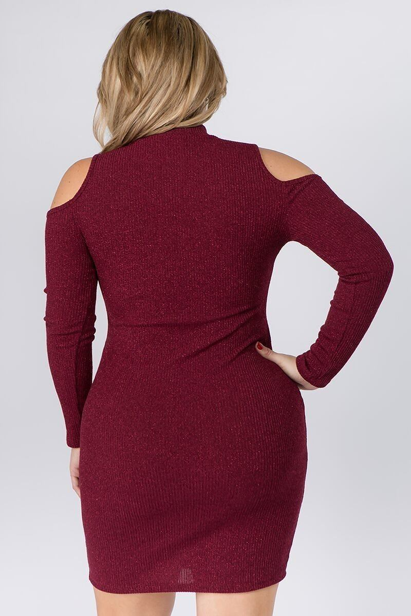 Embellished Cold Shoulder Long Sleeve Dress