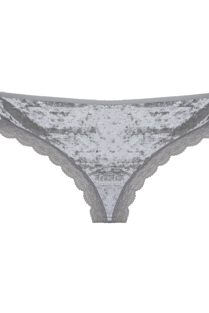 Silver / S Cut Out Back Velvet Thong