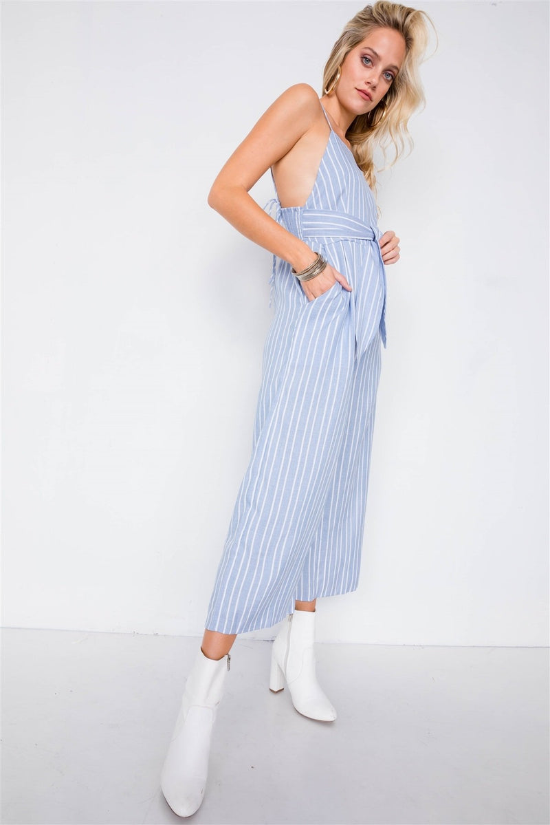 L Striped Front Tie Jumpsuit
