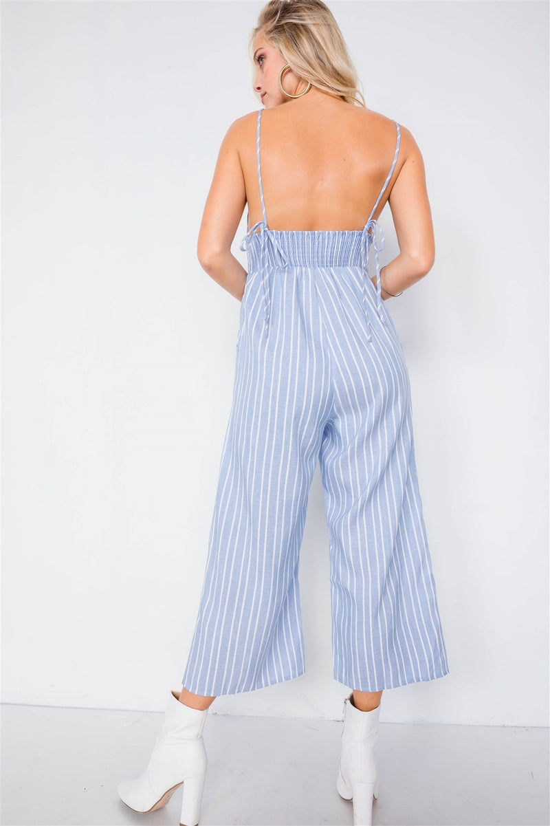 Striped Front Tie Jumpsuit