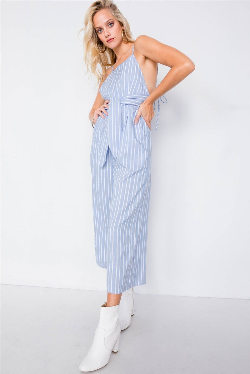 M Striped Front Tie Jumpsuit