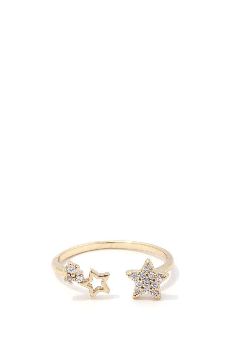 Gold 6 Double Star Ring