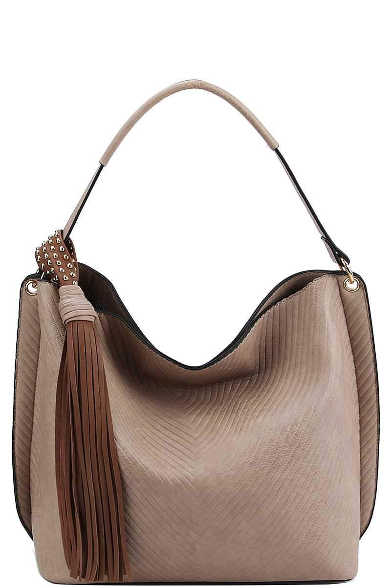 Mocha Tasseled Satchel