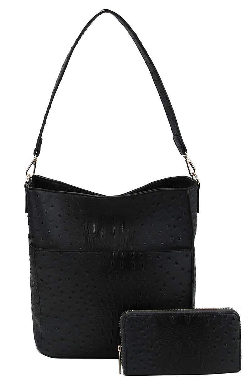 Black Croco Pattern Hobo Bag With Matching Wallet