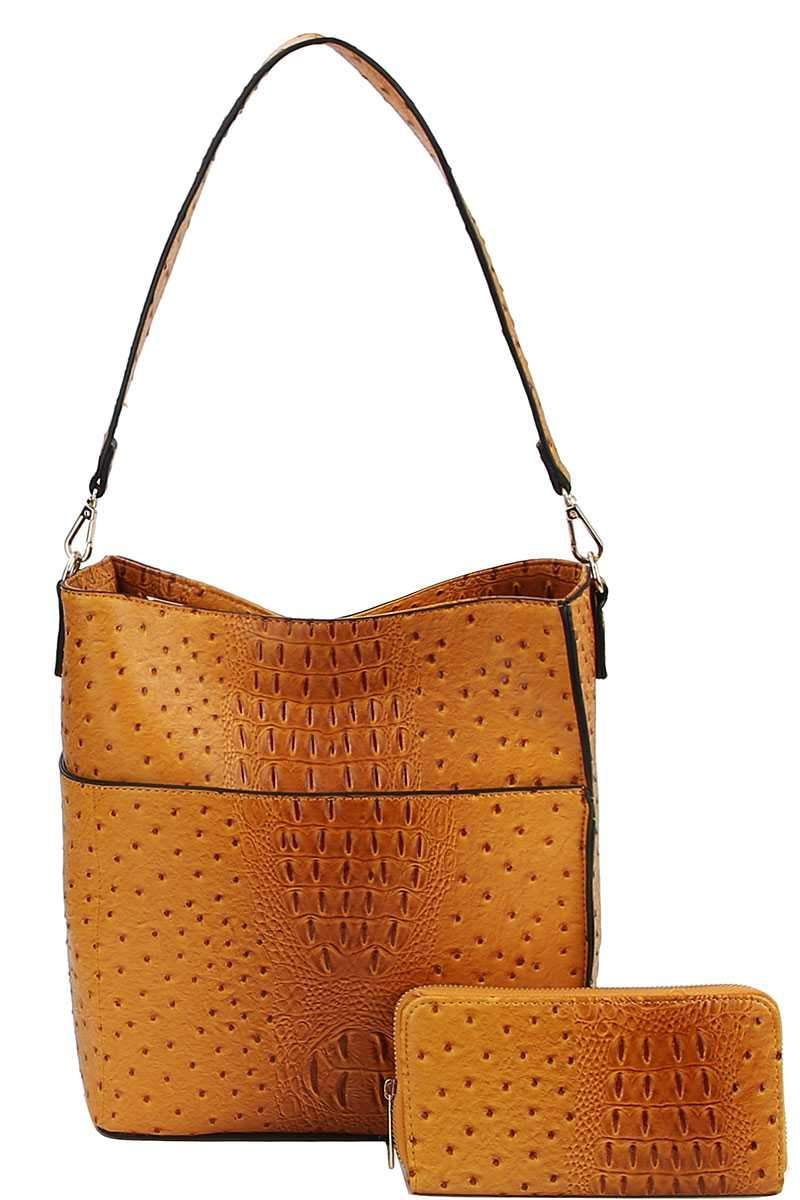Mustard Croco Pattern Hobo Bag With Matching Wallet