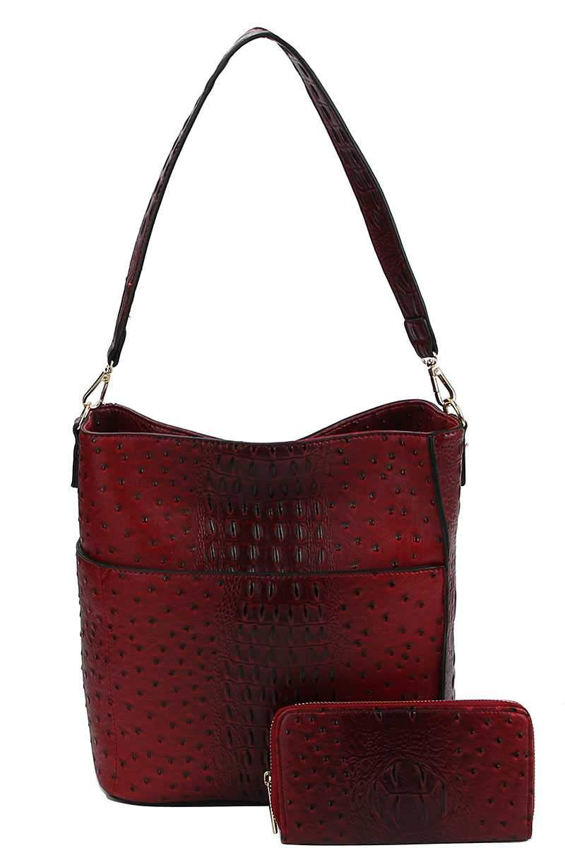 Red Croco Pattern Hobo Bag With Matching Wallet