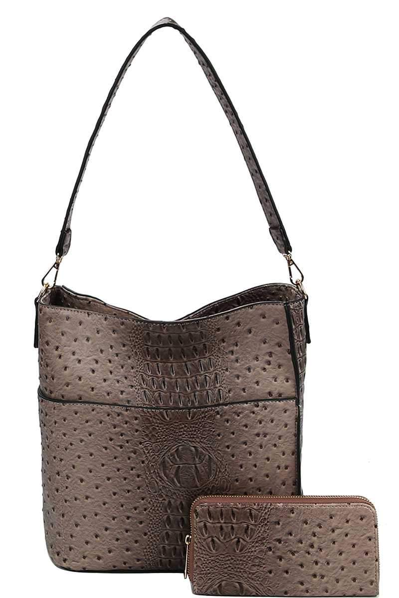 Taupe Croco Pattern Hobo Bag With Matching Wallet