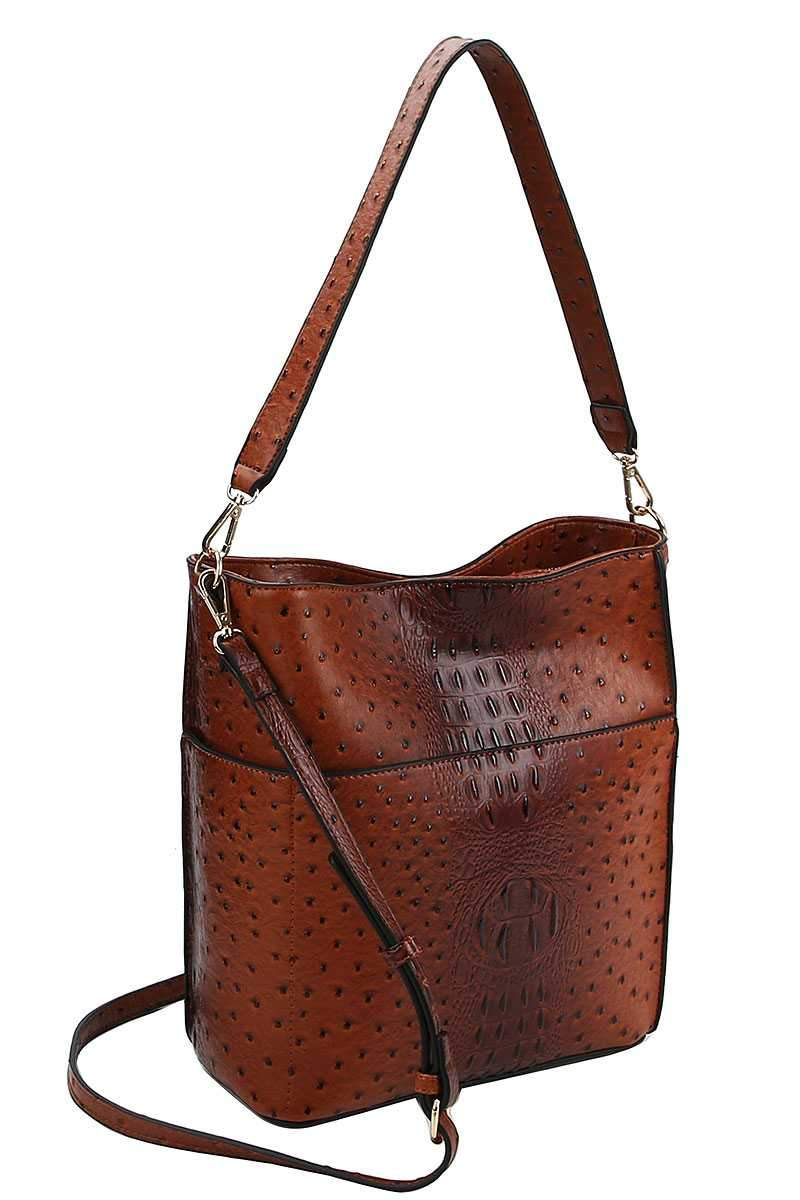 Croco Pattern Hobo Bag With Matching Wallet