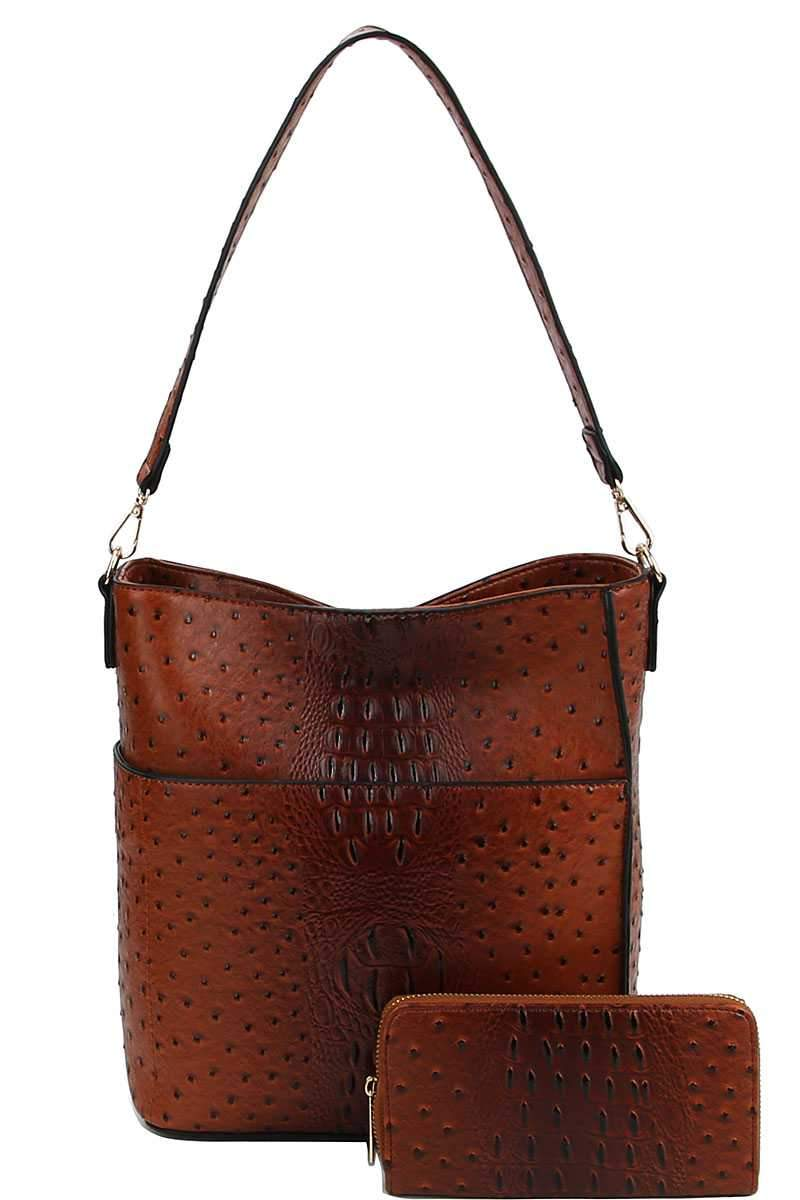Brown Croco Pattern Hobo Bag With Matching Wallet