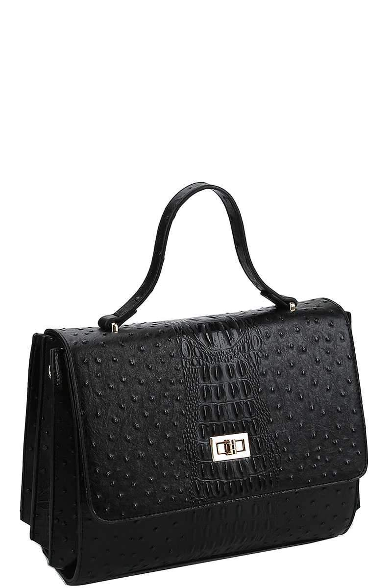Black Cute Croco Satchel