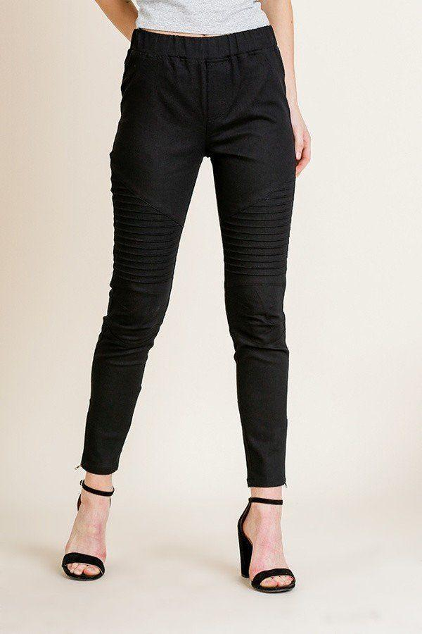 Black / S High Waist Skinny Moto Pant