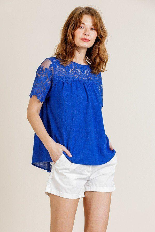 Deep Sea Blue / S Lay Low Keyhole Top