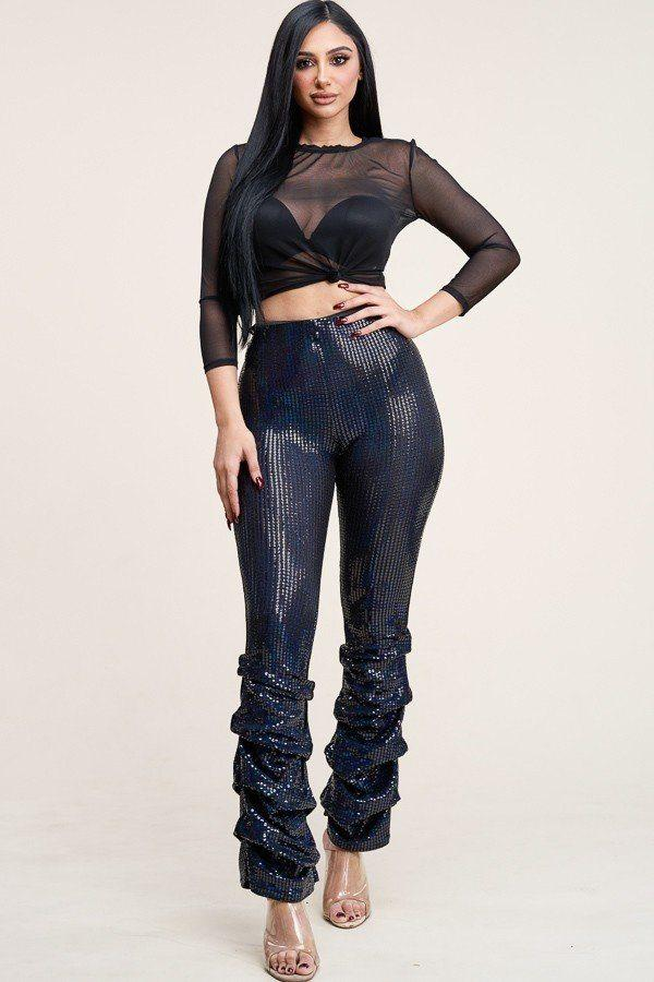 Black / S Mesh Top And Holographic Stacked Pants Set