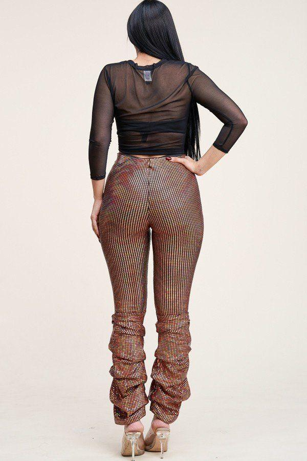 Mesh Top And Holographic Stacked Pants Set