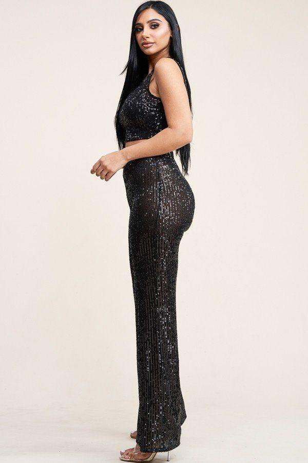 Sequin Tank Top & High Rise Pants Set