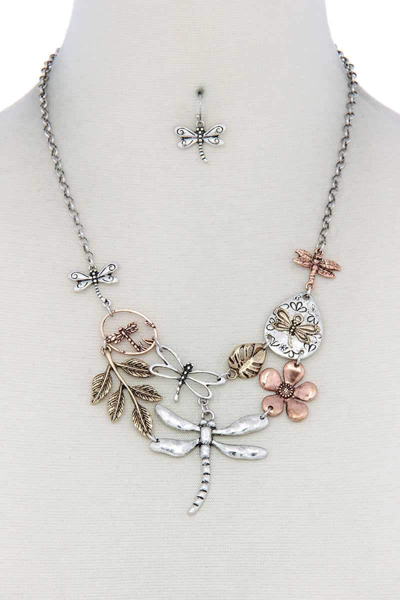 Rose Dust Dragonfly Bib Necklace