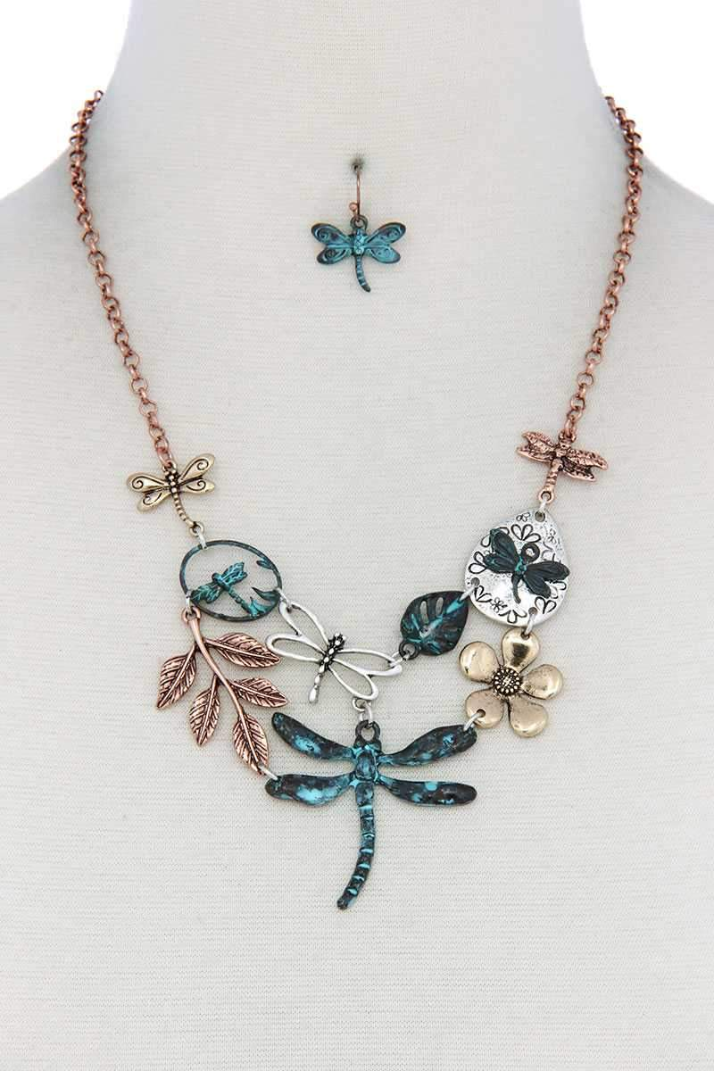 Tirquoise Dragonfly Bib Necklace