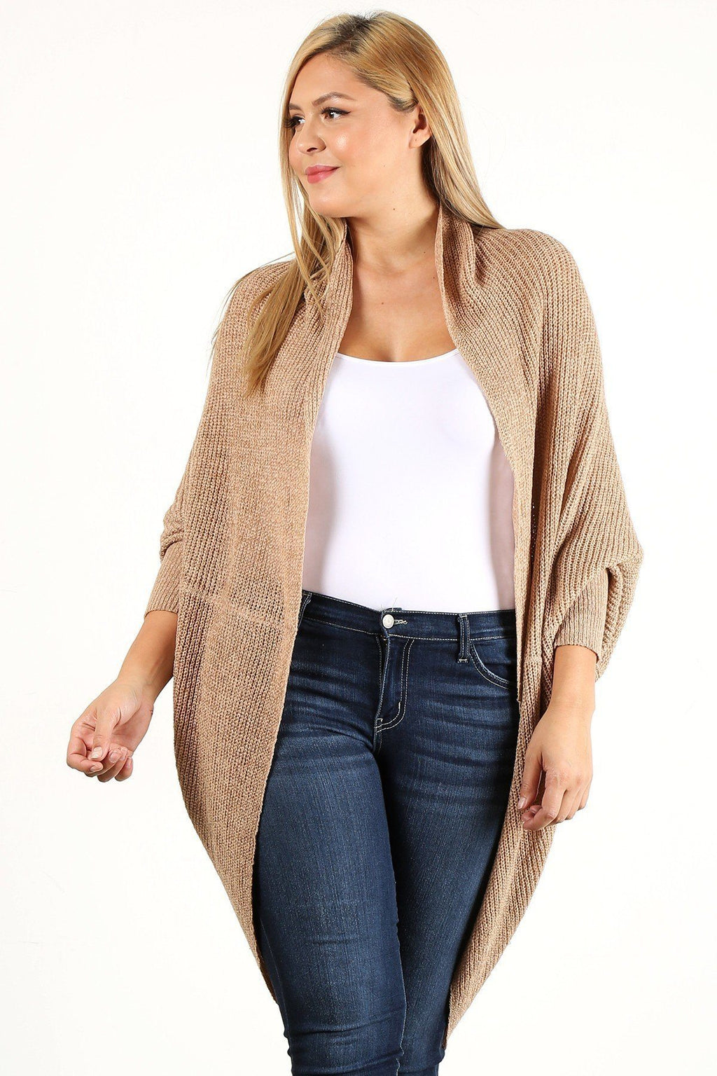 1XL/2XL Solid Loose Knit, Open Cocoon Cardigan