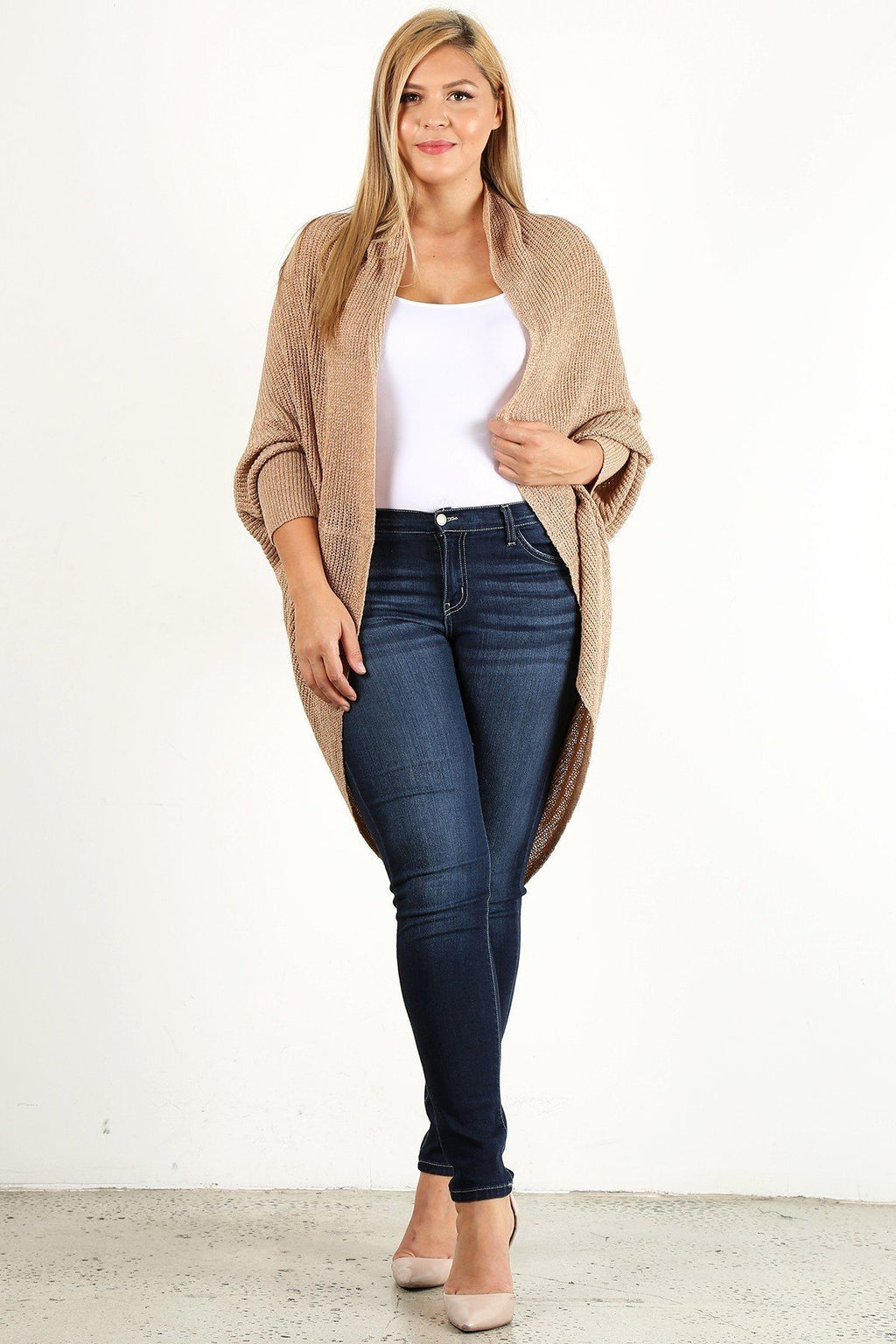 2XL/3XL Solid Loose Knit, Open Cocoon Cardigan